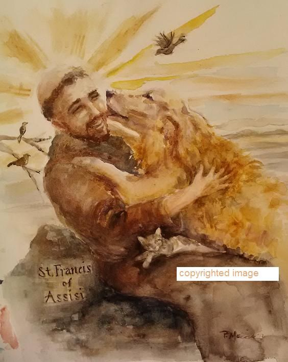 St Francis of Assisi with man's best friend.