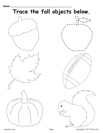 FREE Fall Tracing Worksheet! This printable tracing worksheet is perfect for preschoolers and kindergartners. Get the free worksheet here --> https://www.mpmschoolsupplies.com/ideas/7752/free-printable-fall-tracing-worksheet/