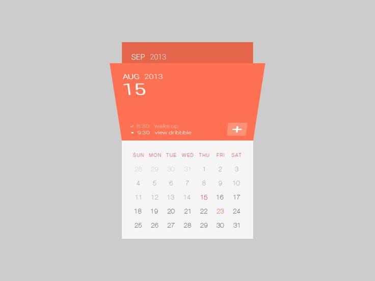 Calendar UI by siutak, via dribbble.