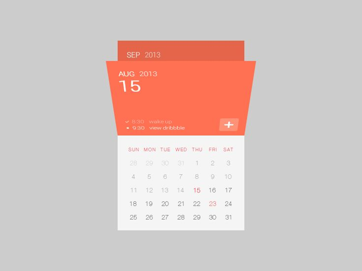 Calendar UI by siutak, via dribbble.
