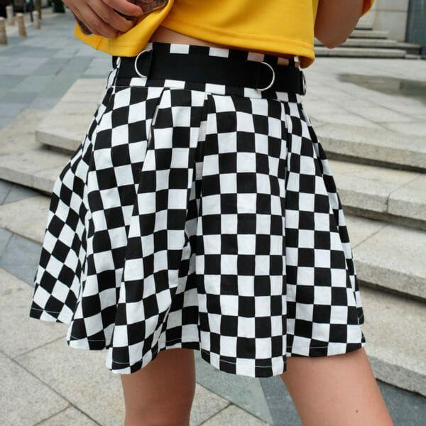 b220d514d007 Shop High Waist Checkerboard Skirt @ Ninja Cosmico! We offer FREE Worldwide  Shipping!