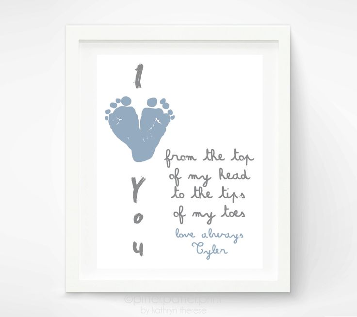 First Fathers Day Gift for New Dad - I Love You Baby Footprint Heart - Personalized Gift for Grandpa, Daddy, Grandfather. $30.00, via Etsy.