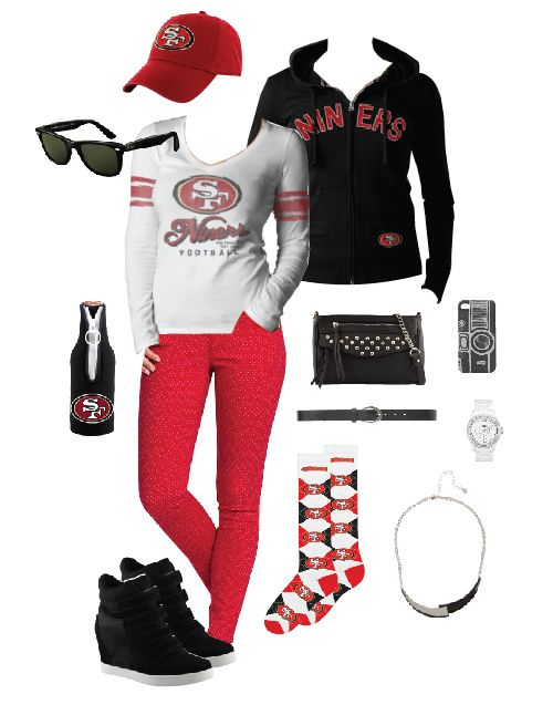 Super Bowl pre-Game Ready in 49ers: Team appropriate outfit.