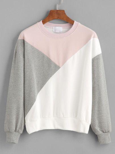 Sweat-shirt color-block manche longue