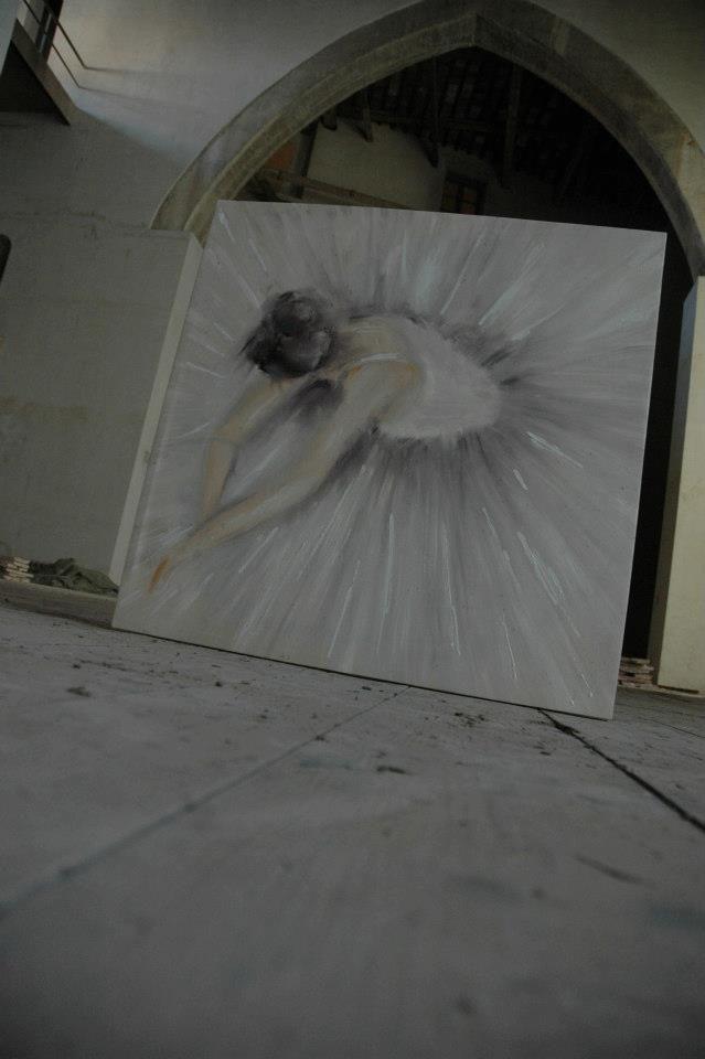 Ballerina sul palco del teatro Rossi Aperto di Pisa. Olio su tela di Rita Pedullà. Oil on canvas by Rita Pedullà. www.ritapedulla.it #ballerina #tutu #oiloncanvas #teatro #stage #dance #ritapedullà