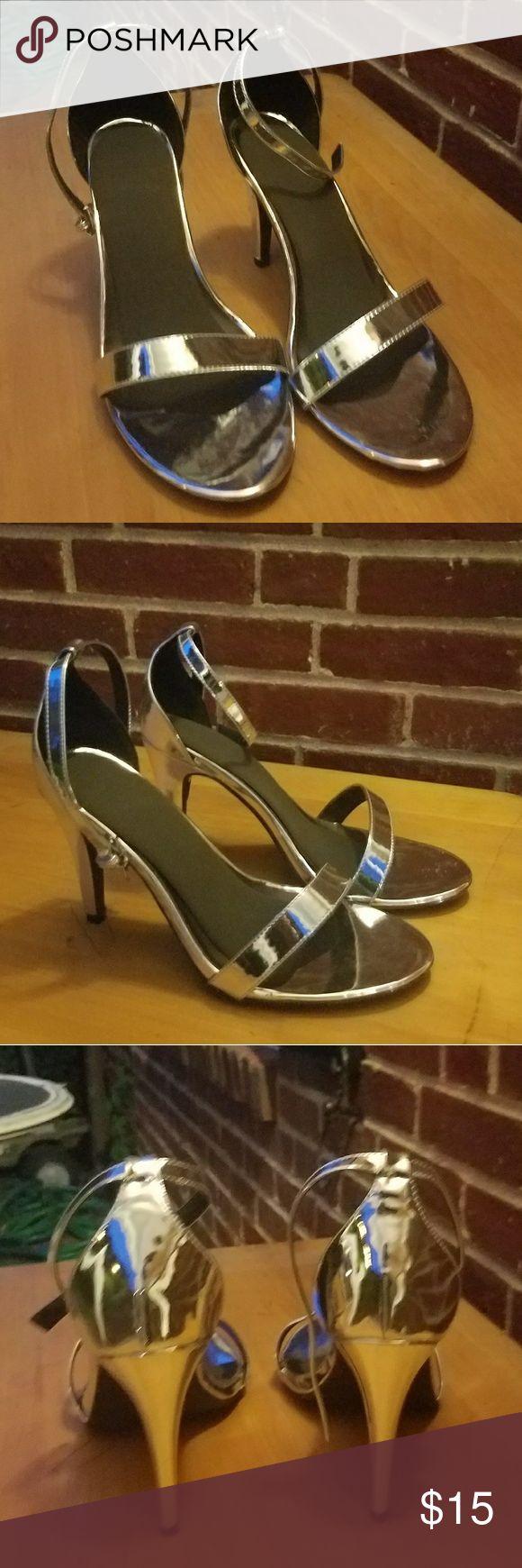 Ashley Stewart Silver Heels Silver Heels, good for wide feet Ashley Stewart Shoes Heels
