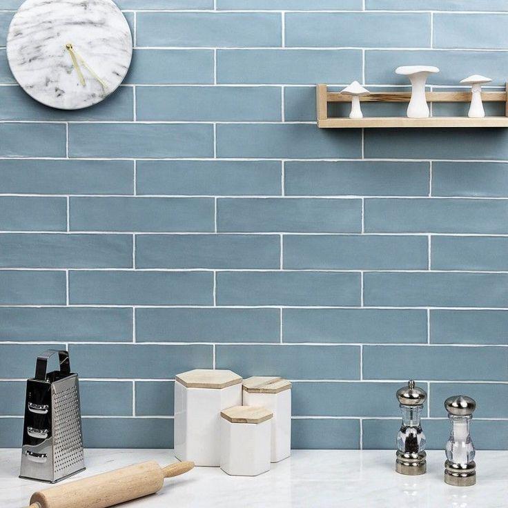 Bayou Sky 3x12 Matte Ceramic Tile Blue Backsplash