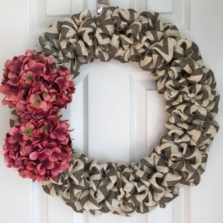 Spring Burlap Wreath for Front Door - Burlap Purple Hydrangea Wreath - Chevron Burlap Wreath - Valentine's Day Wreath - Farmhouse Wreath