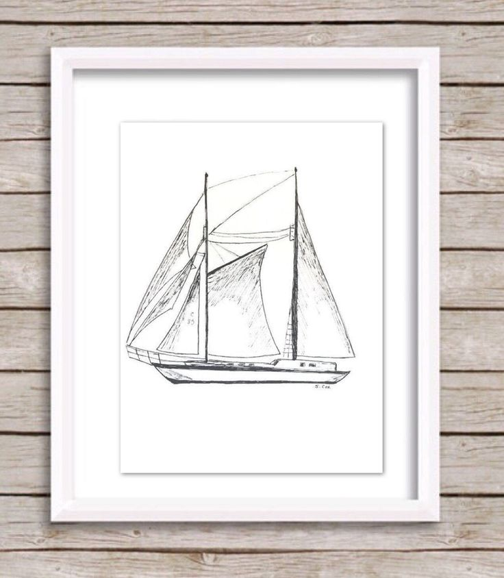 Sail boat drawing, ink Nautical sketch, Boat print, original art sketch, Boat illustration, black and White Print, Pen and Ink Print by WatercolorArtFinds on Etsy