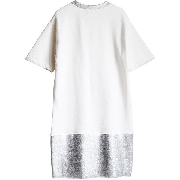 Juddgrey silver neck jumper dress ($159) ❤ liked on Polyvore featuring dresses, white metallic dress, loose fitting dresses, loose fit dress, sleeved dresses and white dress