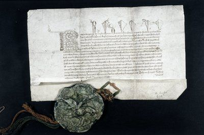 Charter. - License to the Prior of Hurley (Berkshire) for the alienation in mortmain to the priory by John Terry of land in Hurley. With Great Seal. 1385.