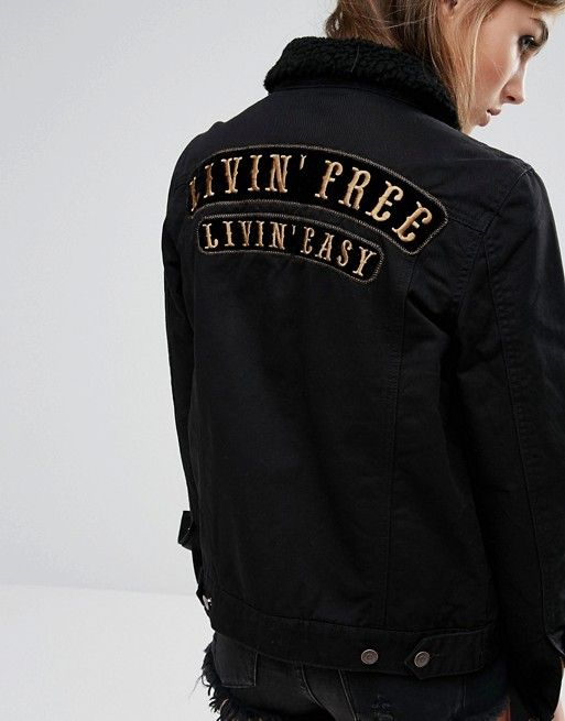 Lira | Lira Oversized Boyfriend Denim Jacket With Back Slogan