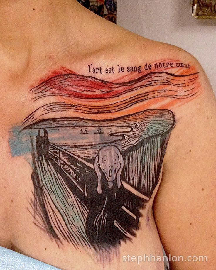 The Scream lithograph by Edvard Munch, tattoo by a Steph Hanlon