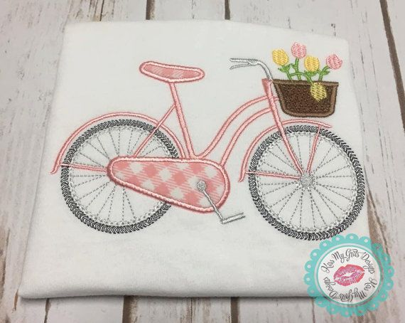 Bicycle with Basket of Flowers Machine by KissMyGritsDesigns