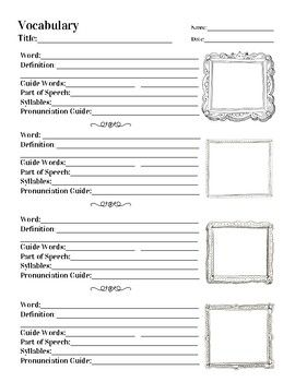 """I created this worksheet because, after years of teaching """"the dictionary lesson,"""" I knew that my students needed continuous practice using a dictionary to actually master this skill. I use this worksheet when I introduce the vocabulary from a story in an anthology or"""