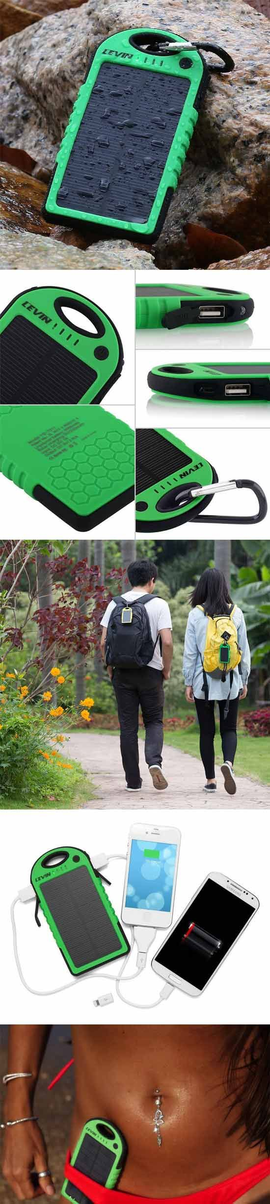 Levin Solstar – Solar Panel Charger – 5000mAh::  Aside from this small, lightweight solar cell being water-resistant and Dirt/Shockproof, it also has two built in USB ports. That means simultaneous charging of two separate devices at a time. Being that it has USB ports rather than cables, it is pretty much universally compatible with anything you can plug into it provided you use the existing charge cable that works on your device.