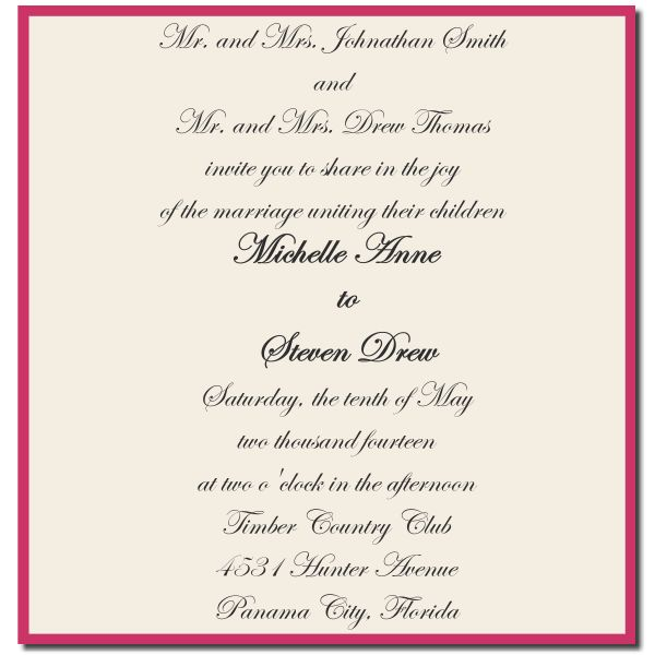 Formal Attire On Wedding Invitation: Formal Wedding Invitations Wording For Both Parents