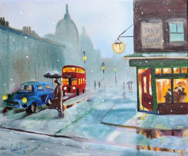 Original northern art street scene painting Gordon Bruce