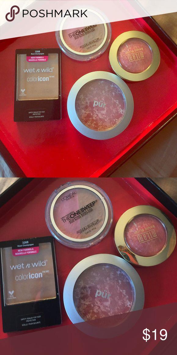 BLUSH BUNDLE Pür marble powder in Pink, Milani baked blush in Corallina, Wet n Wild in Rose Champagne, L'Oréal sculpting blush and bronzer Milani Makeup Blush