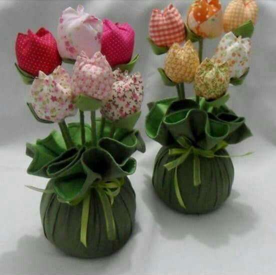 más y más manualidades: Aprende como hacer estos tulipanes de tela