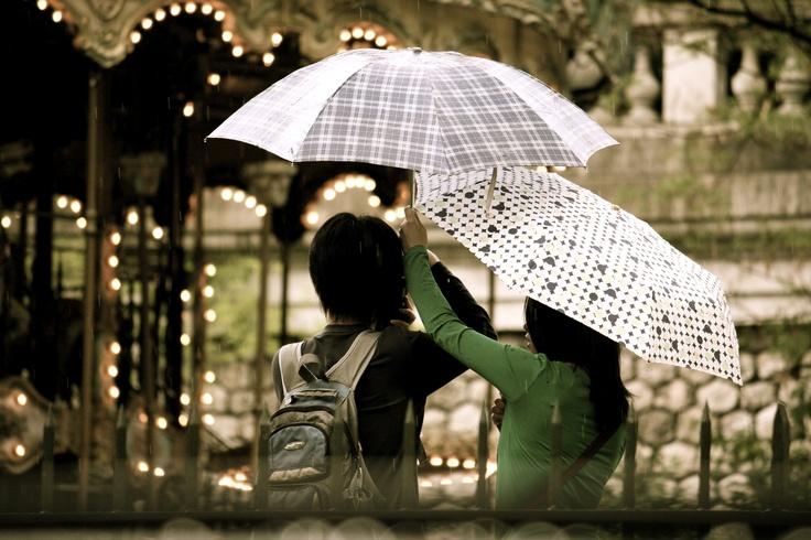 couple in rainy paris