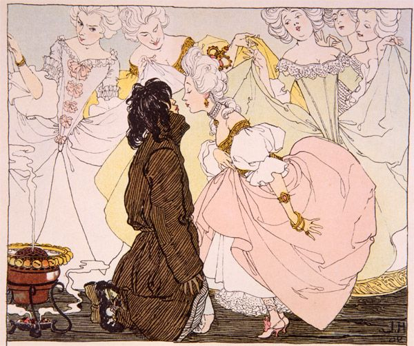 "Heinrich Lefler, illustration from ""Die Prinzessin und die Schweinehirt"" (The Princess and the Pigman) by Hans Christian Andersen, 1897"