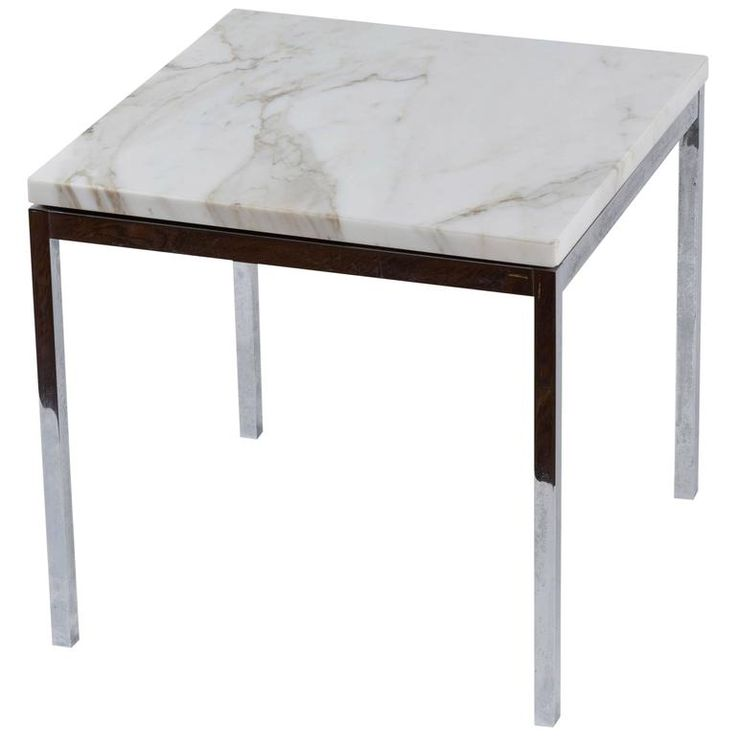 American Knoll-Style Chrome and Marble End Table, circa 1950 1