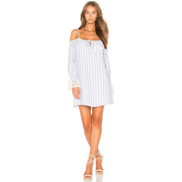 VAVA by Joy Han Enissa Cold Shoulder Dress ($105) ❤ liked on Polyvore featuring dresses, cut-out shoulder dresses, white strap dress, cutout shoulder dresses, strappy dress and open shoulder dress