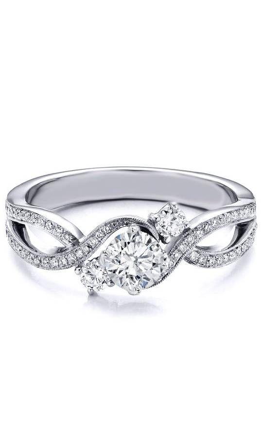 Three Stone Infinity Diamond Engagement Ring