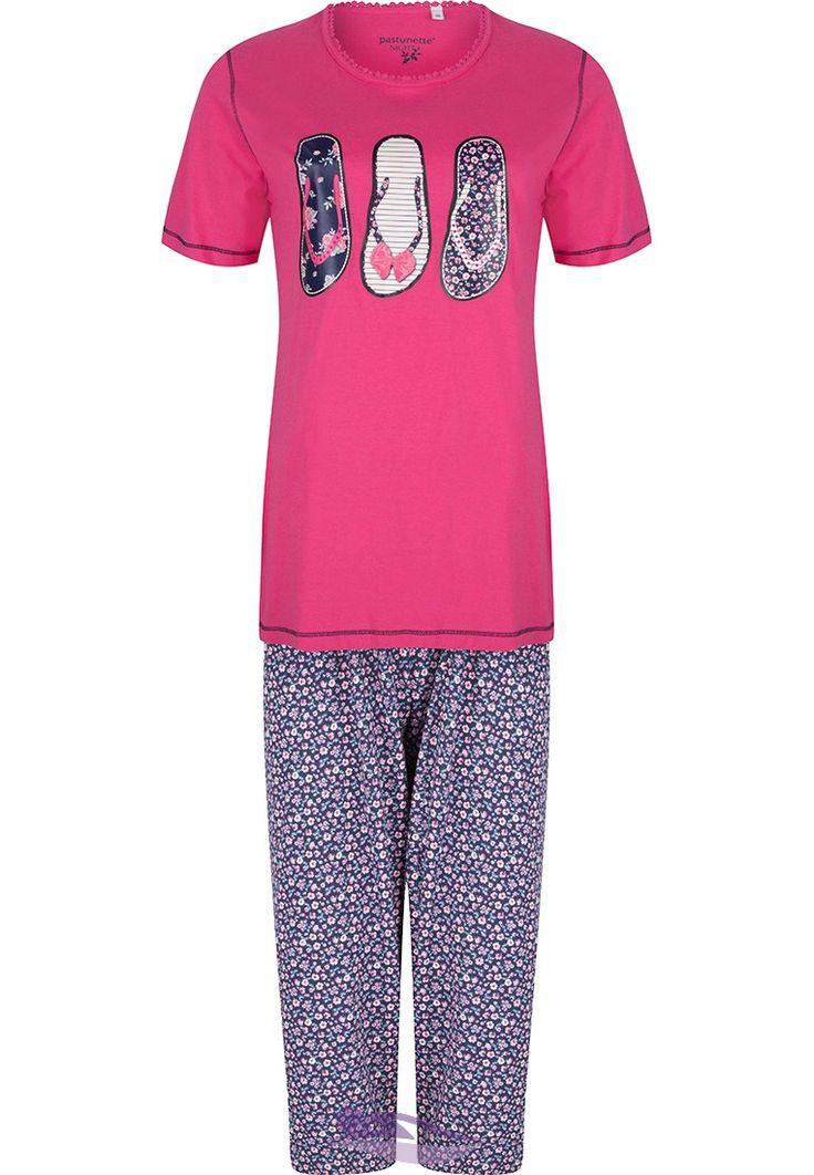 Pastunette 'Diamanté flip flops' fuschia pink pyjama set with 3/4 floral pants