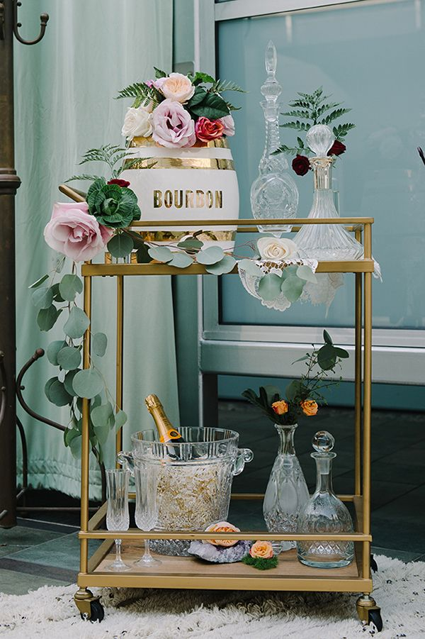 Gold and Cut Crystal Wedding Bar Cart | John Schnack Photography | http://heyweddinglady.com/succulents-sparkles-stripes-modern-socal-wedding/