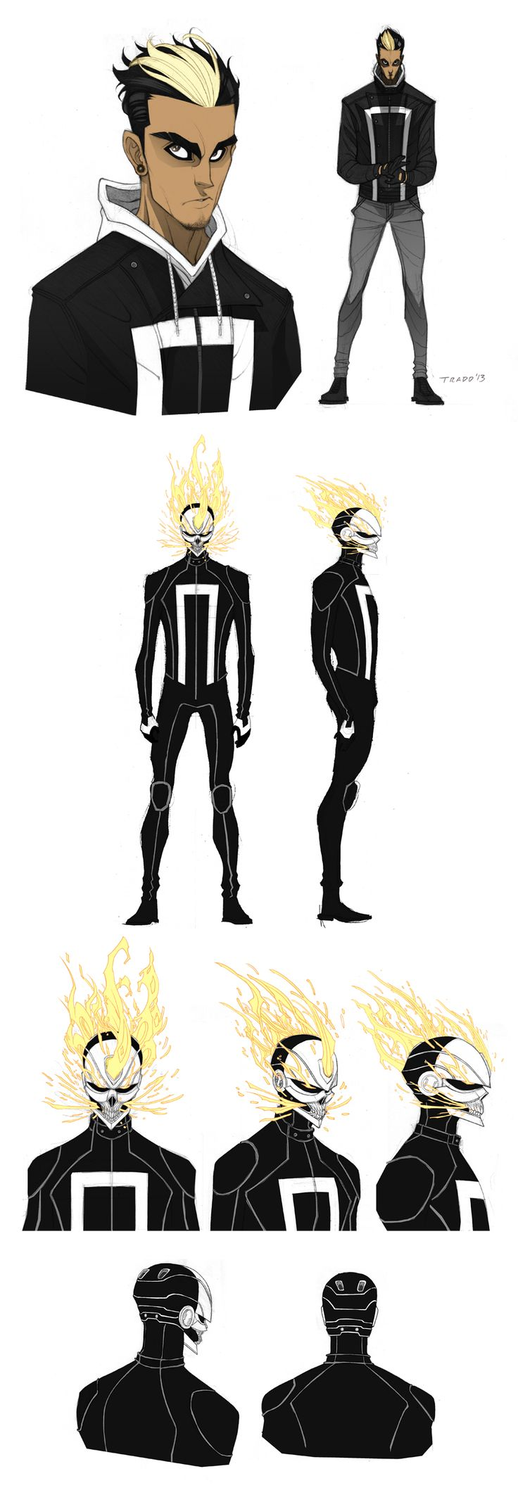 Robbie Reyes - All-New Ghost Rider by Tradd. I have to say, even though I'm upset they changed the Rider's motorcycle into a car, I freaking love the art for this.