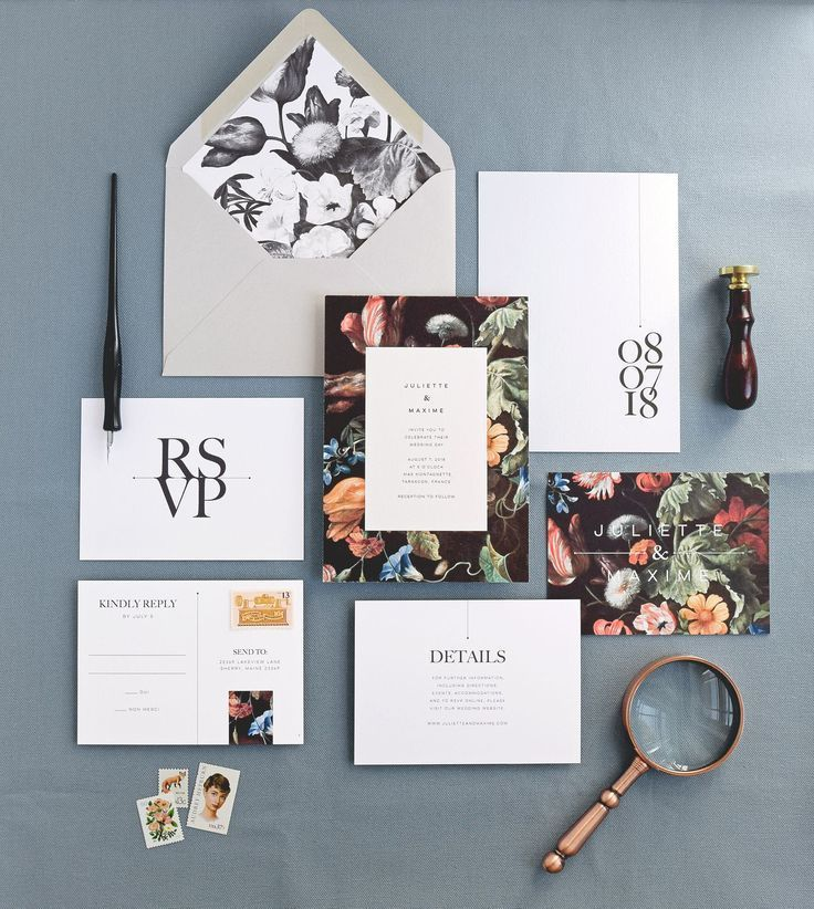 Modern wedding invitation card and envelope with liner, rsvp card, info card | Floral Invitations | Minimal | Rachel Marvin Creative