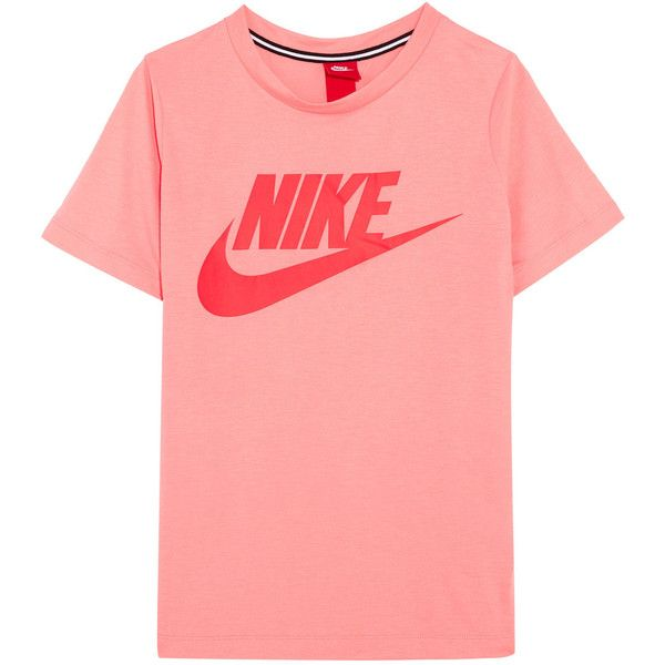 Nike Essential printed stretch-jersey T-shirt ($37) ❤ liked on Polyvore featuring tops, t-shirts, nike t shirt, pink t shirt, loose fitting tops, logo top and red t shirt
