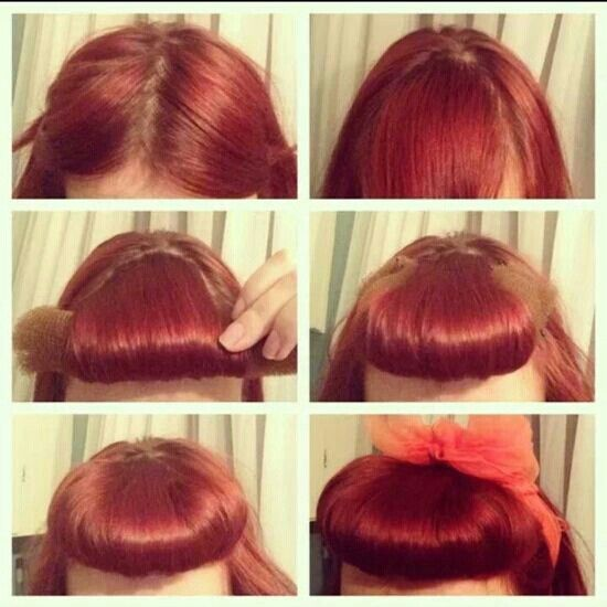 """bangs using a """"sock bun"""" cut in half the picture is a step by step ..."""