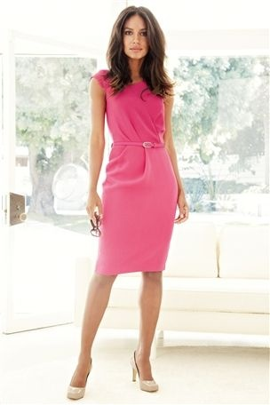 Next pink Pleat detail belted dress