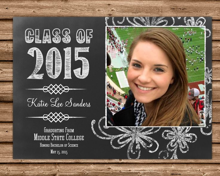 chalk style graduation announcement with photo 4x6 or 5x7 flat card printed 4 color process - Graduation Invitations Pinterest