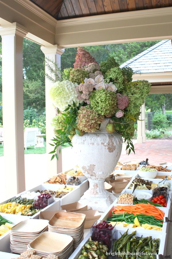 buffet table with beautiful arrangement