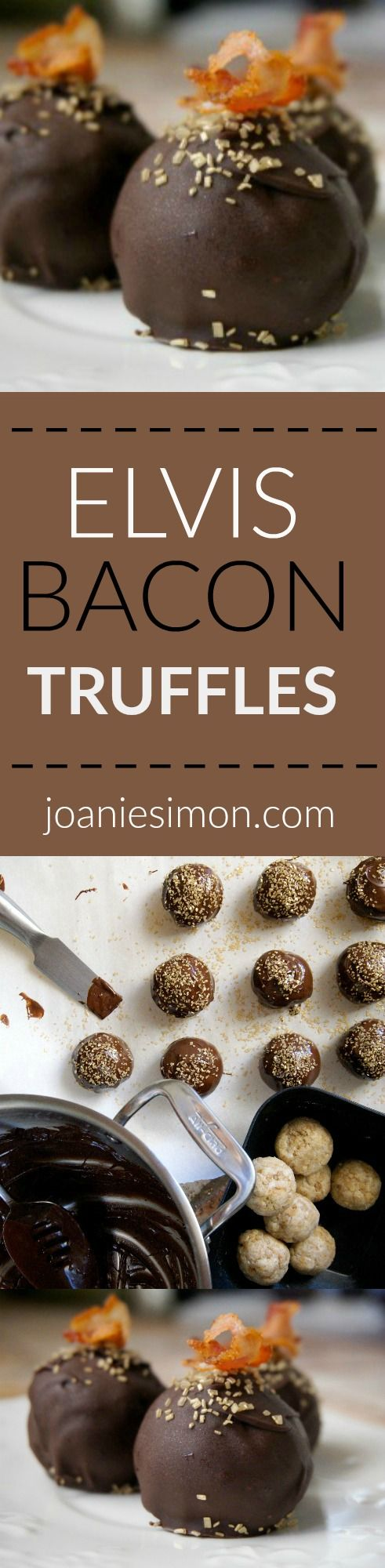 Elvis' favorite things in a cake truffle:  banana, peanut butter and bacon, all covered in chocolate!