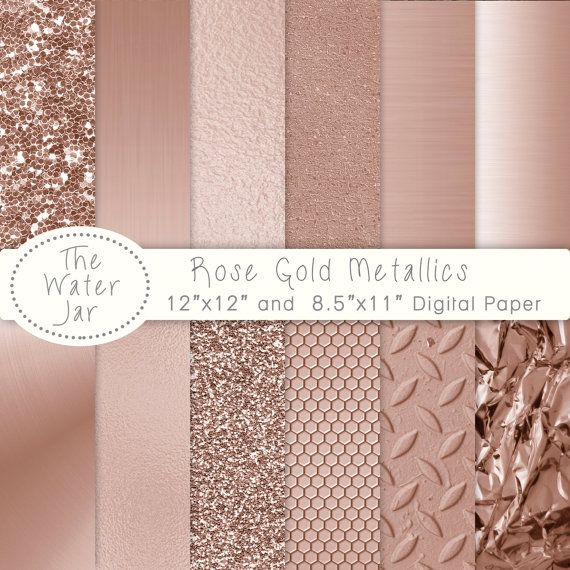 Rose Gold Foil Texture digital papers and Rose Gold Metallic Glitter, Gold Textures, Brushed metal, Rose gold foil, Rose gold textures.