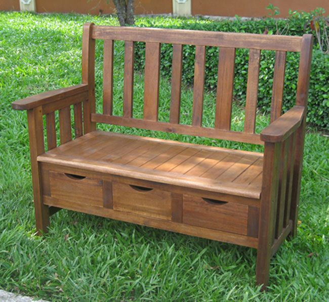 Functional and stylish, this large outside storage bench offers the benefits of storage and seating. Made from solid Acacia hardwood, this sturdy bench can withstand inclement weather, and the three drawers are perfect for seeds and garden gloves.
