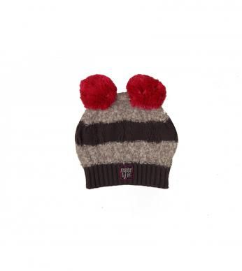 knitted stripe beanie with pom pom detail and finished with a Naartjie label.
