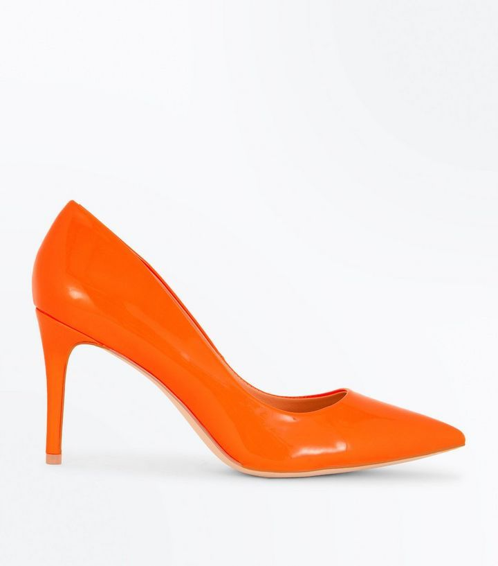 Bright Orange Patent Pointed Court Shoes | New Look