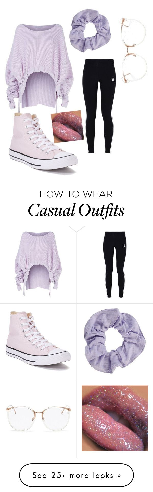 """""""Purple pastel n casual"""" by mahiyabrown on Polyvore featuring STELLA McCARTNEY, adidas Originals, Converse, Linda Farrow, contest, pastelsweaters, powerlook and NYFWPlaid"""