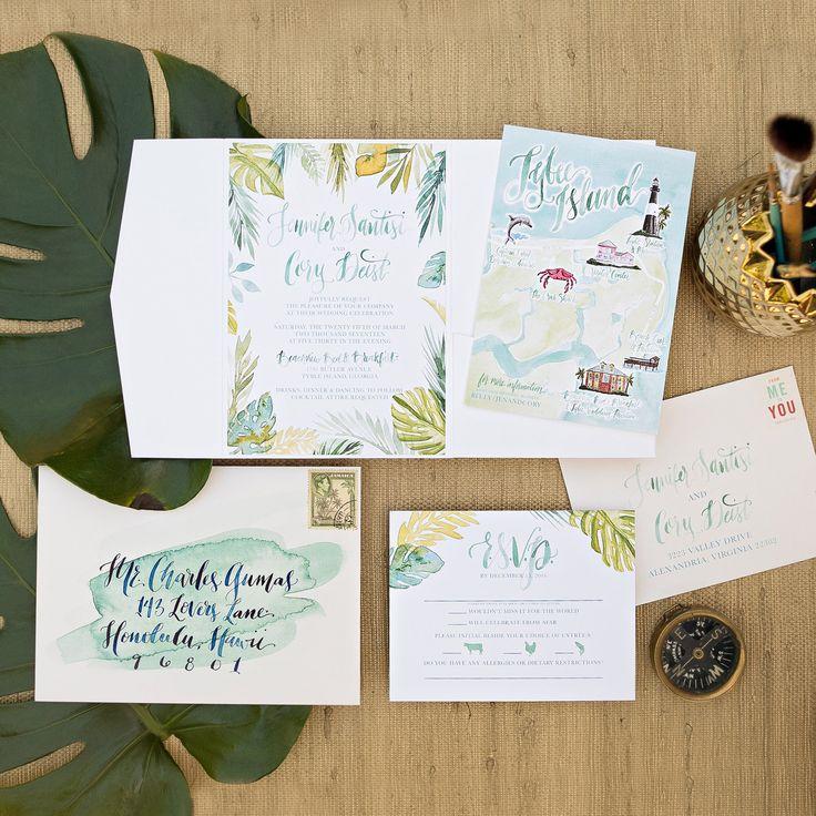 tropical watercolor wedding invitation island wedding watercolor