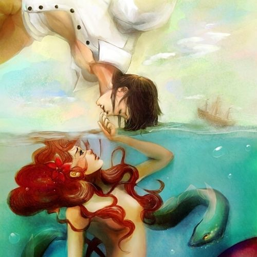 the little mermaid. such a beautiful paiting (?) !