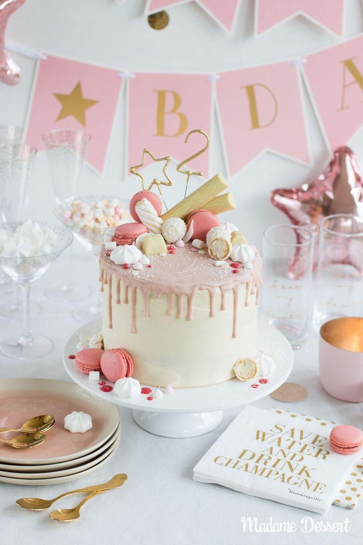 Candy Drip Cake Geburtstagstorte mit Himbeeren & Kokos im Ombre-Look – Saftig …   – Beste Foodstories-Blogger-Rezepte/Gruppenboard DACH