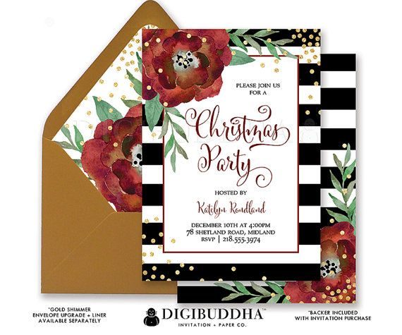 Christmas Party Invitation Black Amp White Striped Gold