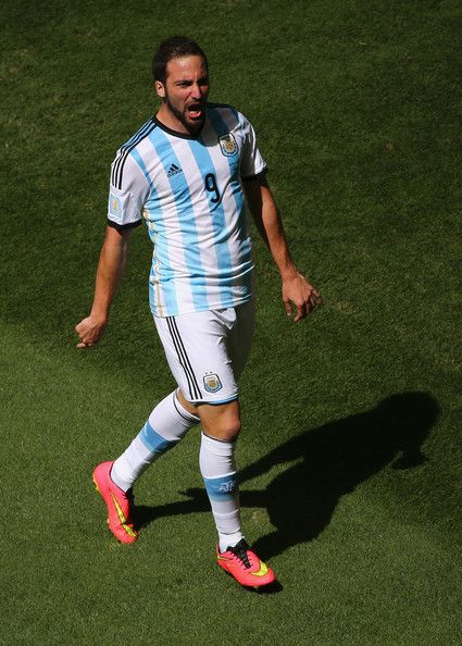 Argentina vs Belgium 1:0 * Gonzalo Higuain Gonzalo Higuain of Argentina celebrates scoring his team's first goal during the 2014 FIFA World Cup Brazil Quarter Final match between Argentina and Belgium at Estadio Nacional on July 5, 2014 in Brasilia, Brazil.