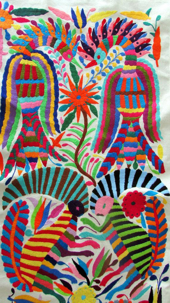 Otomi embroidered fabric Mexican Textile Art by ArteDeMiTierraMX